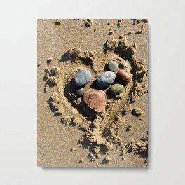 Stones in a Sandy Heart Metal Print