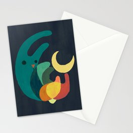 Rabbit and crescent moon Stationery Cards