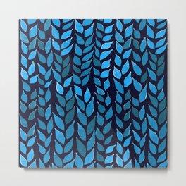 Simple Watercolor Leaves - Blue Background Metal Print