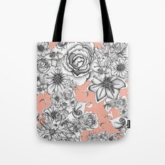 B&W Flowers Coral Tote Bag