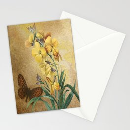 Yellow Erysimum with Butterfly Stationery Cards