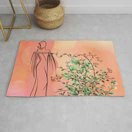 Maidenhair & Woman - Art lines Rug