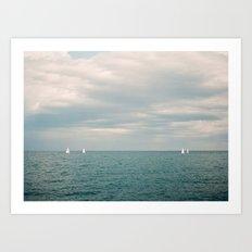 Sails of Antibes Art Print