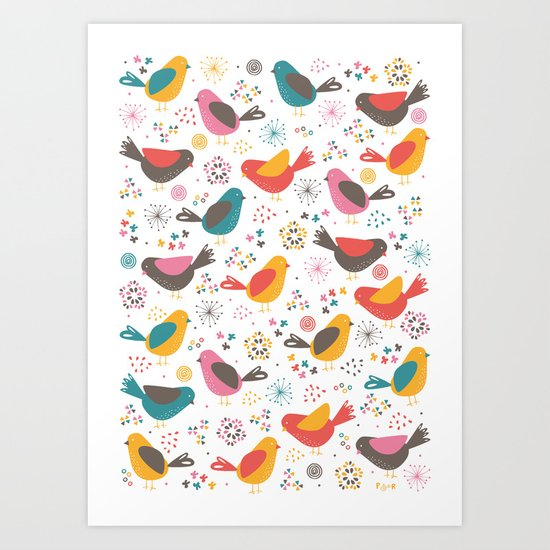 Quirky Chicks Art Print