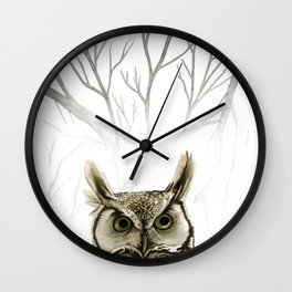 Hibou -- Great Horned Owl in Forest Wall Clock