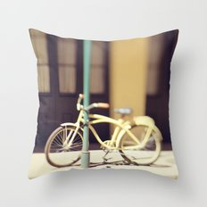 Yellow New Orleans Bicycle Throw Pillow