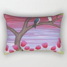 tree swallows & tulips at sunrise Rectangular Pillow