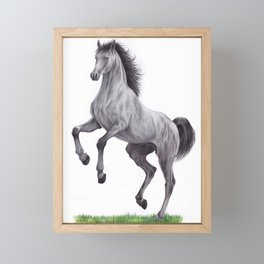 Horse colored pencil illustration Framed Mini Art Print
