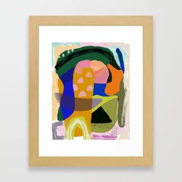 Shapes and Layers no.20 - Abstract painting olive green blue orange black Framed Art Print