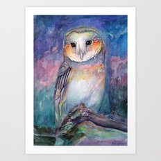 Owl Guardian of Memories Art Print