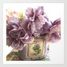 Lavender Roses Impressionistic Romantic Lavender Floral Home Decor Art Print