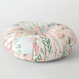 Abstract painting of flowers and plants Floor Pillow