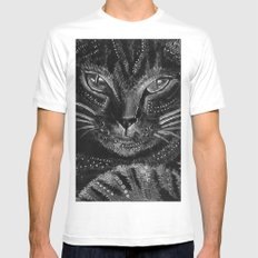 Cool cat MEDIUM Mens Fitted Tee White