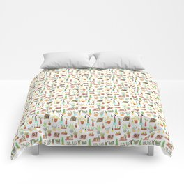 watercolor vinyl records and cacti Comforters