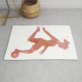 Girl Soccer Player Colorful Rose Gold Watercolor Art Football Striker Gift Rug