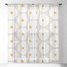 Minimal Botanical Pattern - Daisies Sheer Curtain