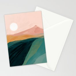 pink, green, gold moon watercolor mountains Stationery Cards