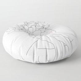 Minimal Line Art Woman with Magnolia Floor Pillow