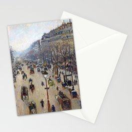 "Camille Pissarro ""Boulevard Montmartre, morning, cloudy weather"" Stationery Cards"