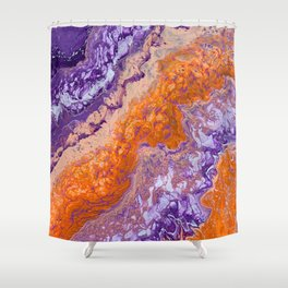 Clemson Orange and Purple Paint Pour Effect Shower Curtain
