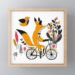 Fancy Mister Foxly Meets A Feathered Friend Framed Mini Art Print