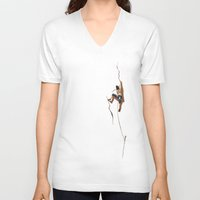 climbing V-neck T-shirts featuring Climbing: Solitude by Brian DeYoung Illustration