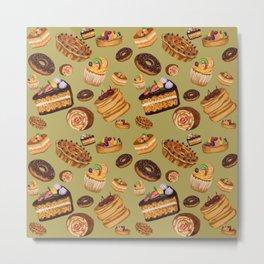 Cute cake seamless pattern Metal Print