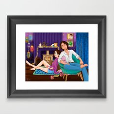 Coffee and cookies in front of the fire  Framed Art Print