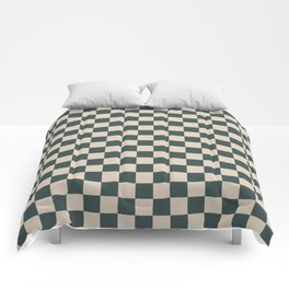 Checkerboard Pattern Inspired By Night Watch PPG1145-7 and Sourdough Beige Tan PPG1084-3 Comforters