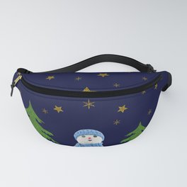 Sparkly gold stars, snowman and green tree Fanny Pack