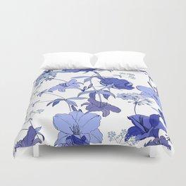 Blue flowers on white background Duvet Cover