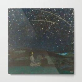 Shooting Stars, Summer Night by the Sea, Watch Hill, Rhode Island landscape by Franz Von Stuck Metal Print