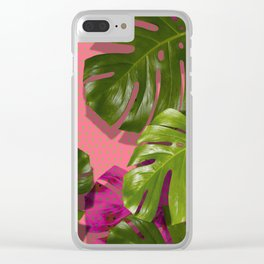 """Tropical monstera polka dots pastel pink"" Clear iPhone Case"