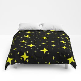 Bright Yellow Stars in Space , Cristmas Stars Comforters