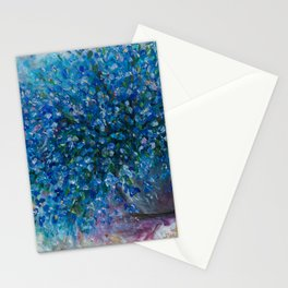 Forget Me Nots Bouquet with a Palette Knife by OLena Art Stationery Cards
