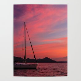 Sailing Boats Against a Purple Sky Poster