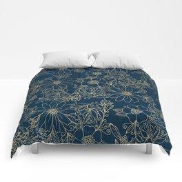 Chic navy blue modern elegant gold floral Comforters