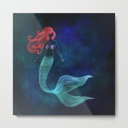 chalk mermaid Metal Print