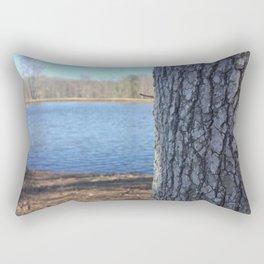 Oak Tree Trunk Next To Lake Abstract Rectangular Pillow