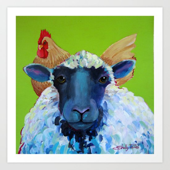 Sitting on Top of The Wool Art Print