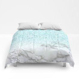 Turquoise Sea Mermaid Glitter Marble Comforters