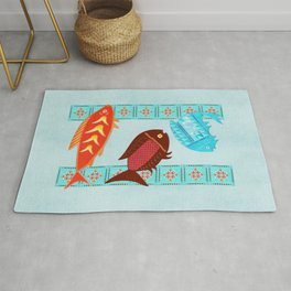 Native American River Folk Art Rug