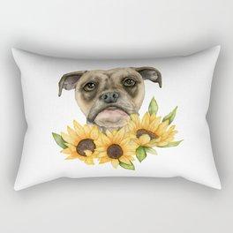 Cheerful   Bulldog Mix with Sunflowers Watercolor Painting Rectangular Pillow