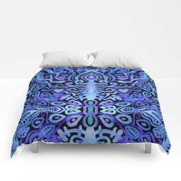 Cornflower Blue & Purple Watercolor Damask Comforters