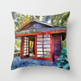 Tea House in the Forest Throw Pillow