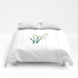 White Daffodils - 'Ice Follies' Botanical Illustration Comforters