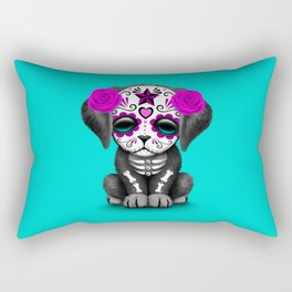 Cute Purple and Blue Day of the Dead Puppy Dog Rectangular Pillow