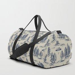 Alien Abduction Toile De Jouy Pattern in Blue Duffle Bag