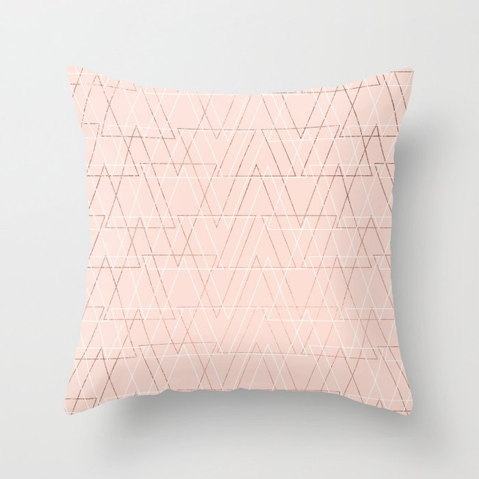 Modern white rose gold abstract geometric triangles on blush pink throw pillow by Girly Trend - Society6