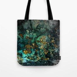 Gold Indigo Malachite Marble Tote Bag